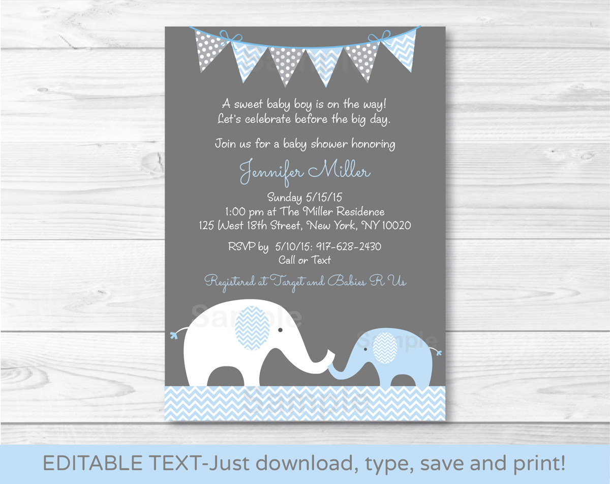 Elephant Ba Shower Invitation Elephant Ba Shower Invite in size 1200 X 951
