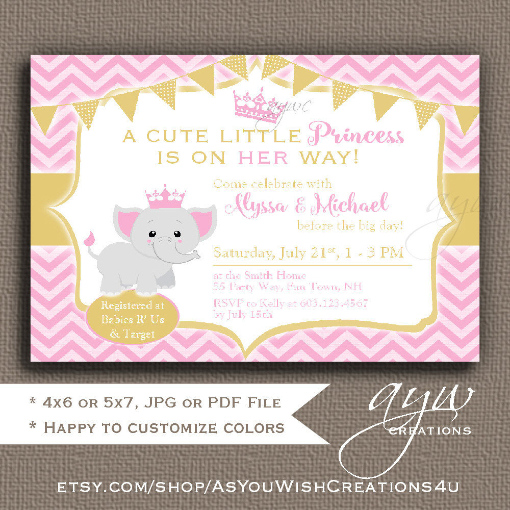 Elephant Ba Shower Invitations Girl Elephant Ba Shower with measurements 1000 X 1000