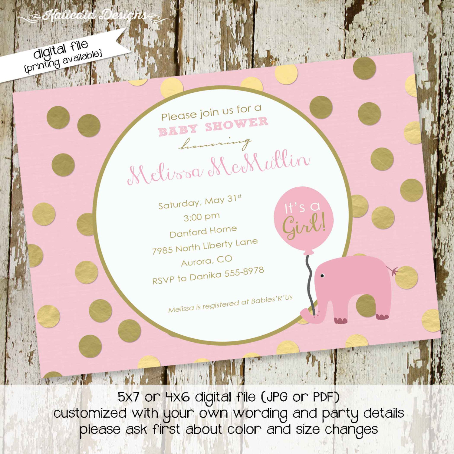 Elephant Theme Ba Shower Invitation Little Girl 1st Birthday throughout measurements 1500 X 1500