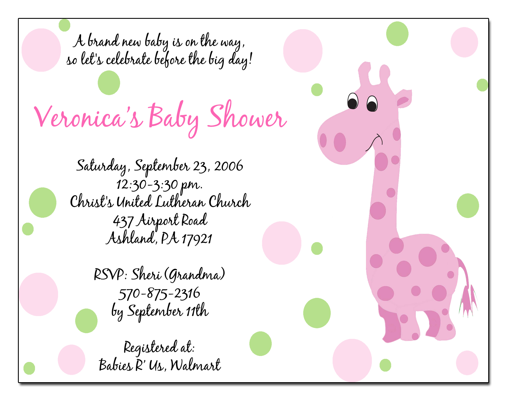 Baby Shower Invitation Sample Email
