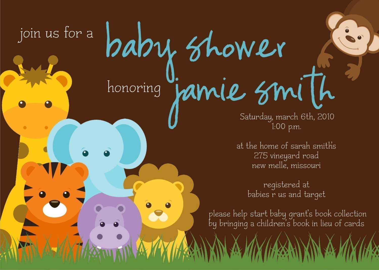 Example Jungle Plus Animal Print Ba Shower Invitation Wording within size 1500 X 1071