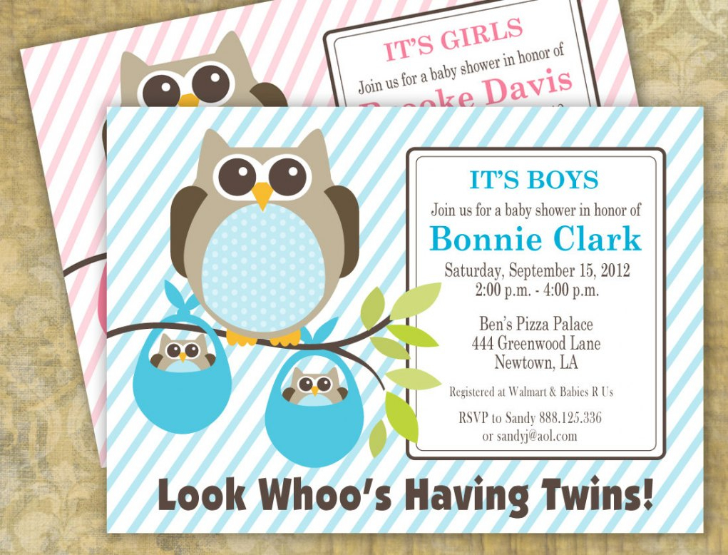 Free Twin Ba Shower Invitation Templates Party Invitations Ideas pertaining to measurements 1021 X 778