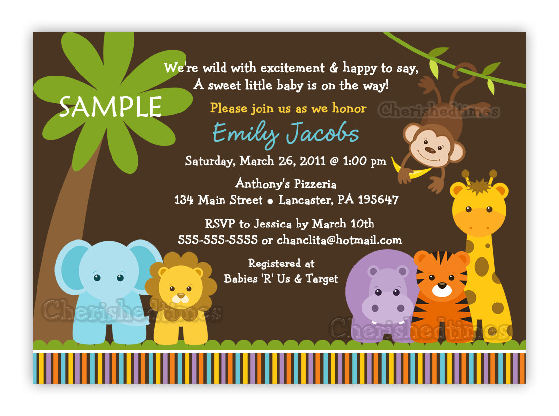 Jungle Safari Wild Animals Ba Shower Invitation You Print for size 1133 X 843