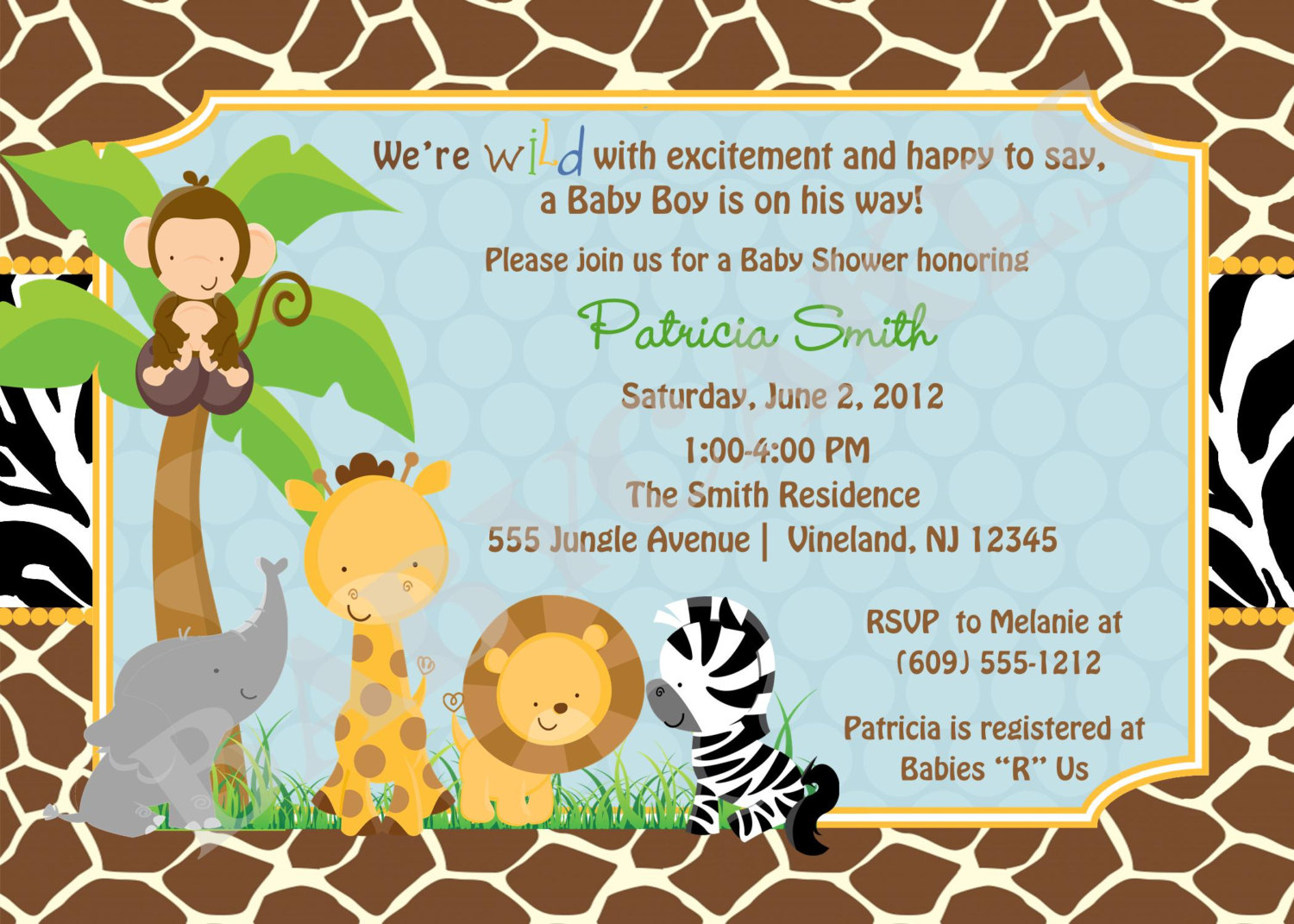 Jungle Theme Ba Shower Invitation Wording Theruntime pertaining to dimensions 1500 X 1071