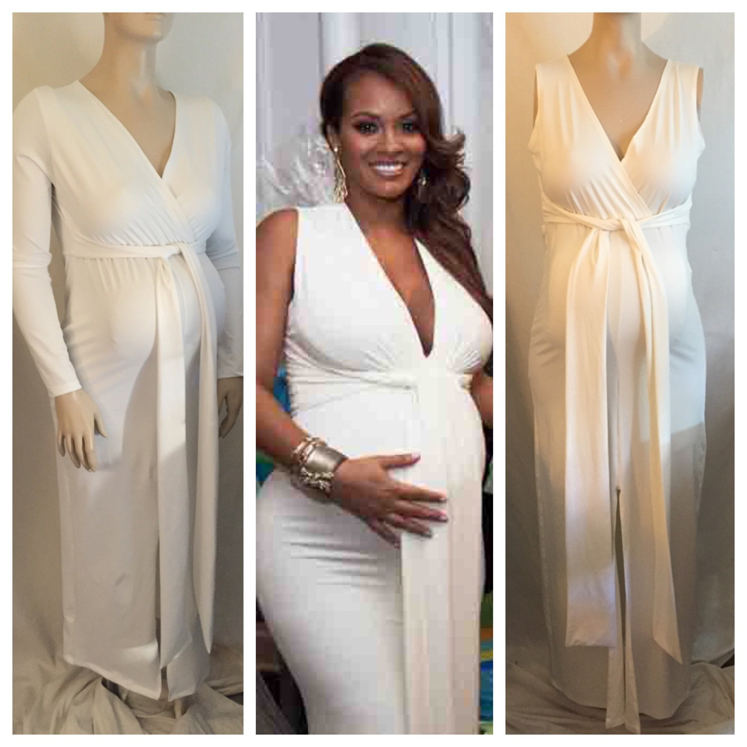 White Plus Size Maternity Dress For Baby Shower - Photo ...