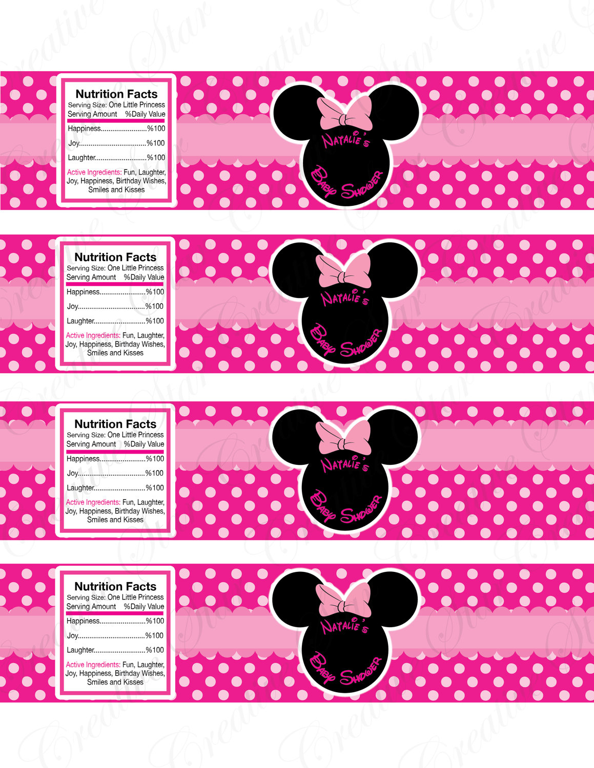 image relating to Free Printable Minnie Mouse Water Bottle Labels identify Minnie Mouse Drinking water Bottle Labels For Kid Shower Little one