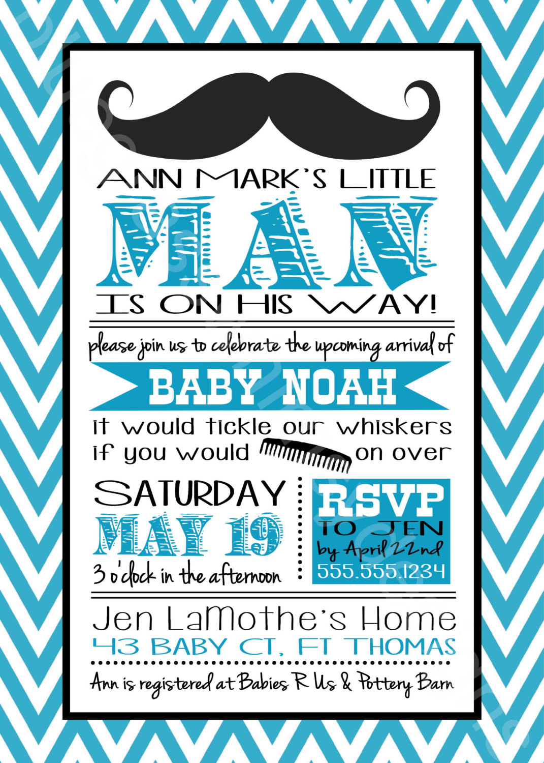 Mustache Little Man Ba Shower Invitation For A Ba Boy within size 1071 X 1500