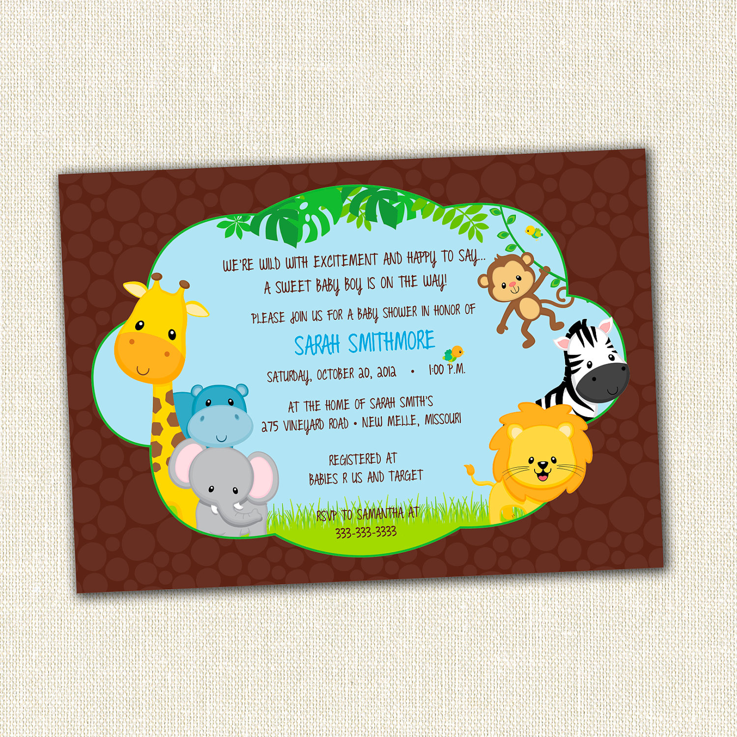 New Jungle Theme Ba Shower Invitation pertaining to size 1500 X 1500