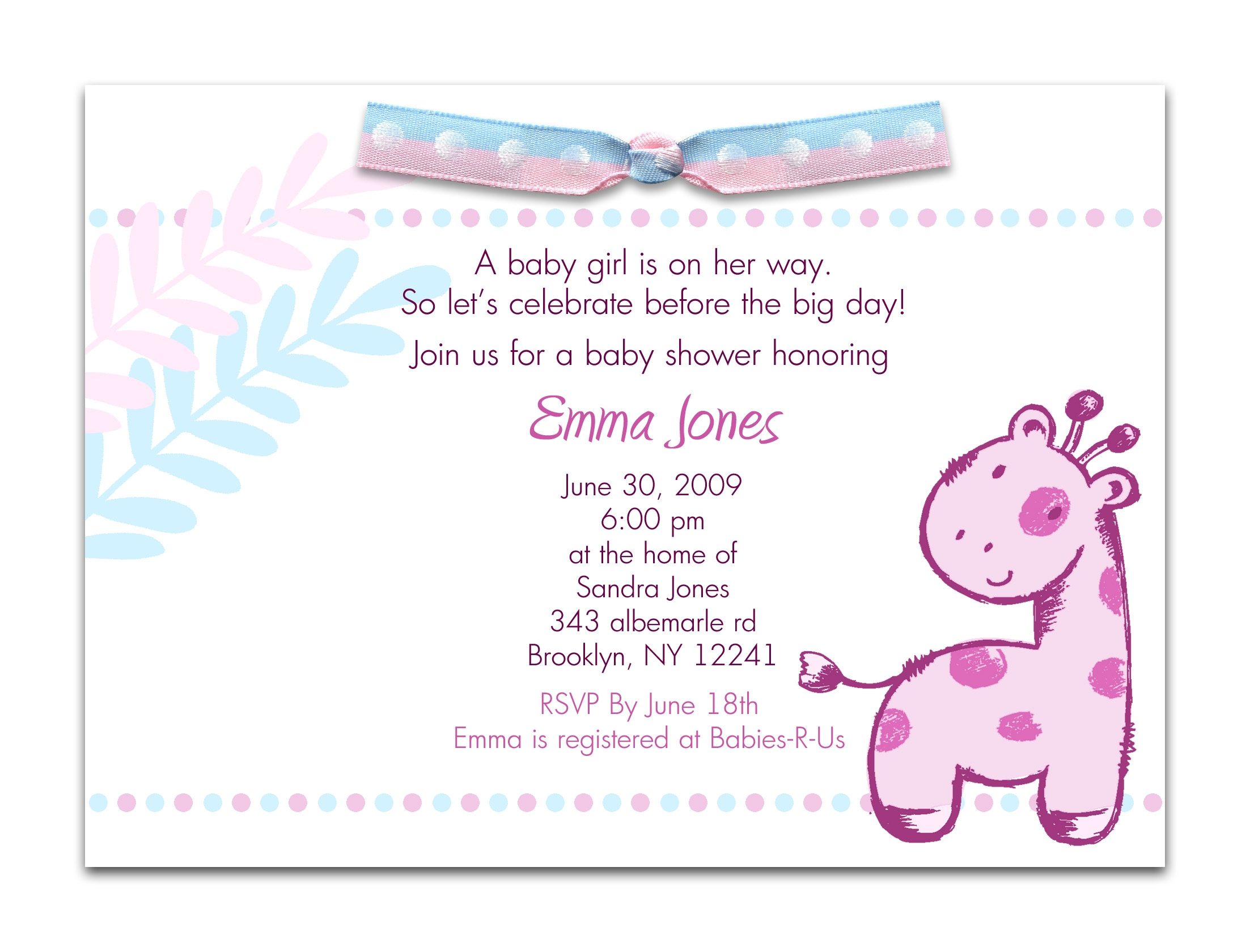 Baby Shower Announcement Wording