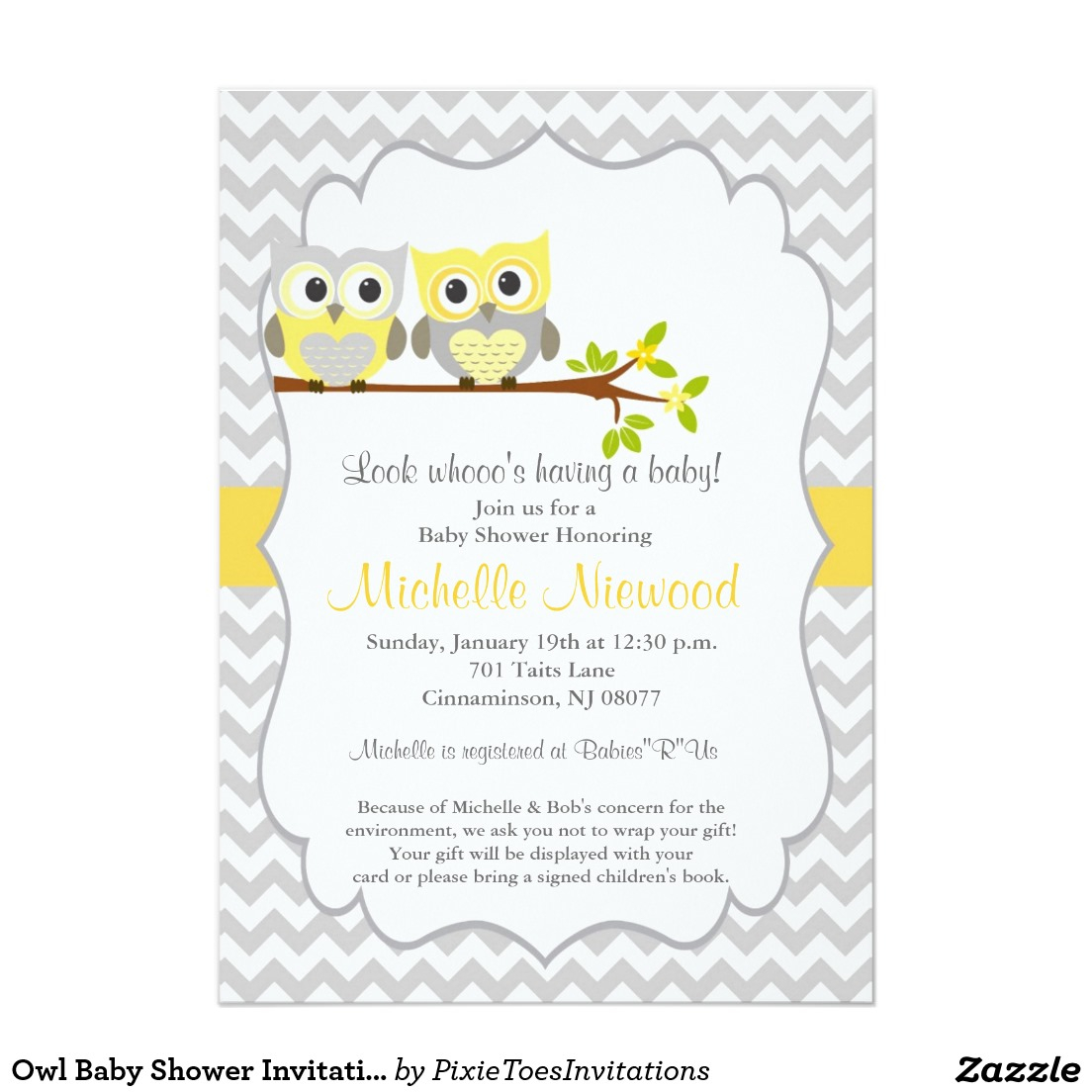 Owl Ba Shower Invitation White Grey Strippes With Yellow Color pertaining to sizing 1104 X 1104