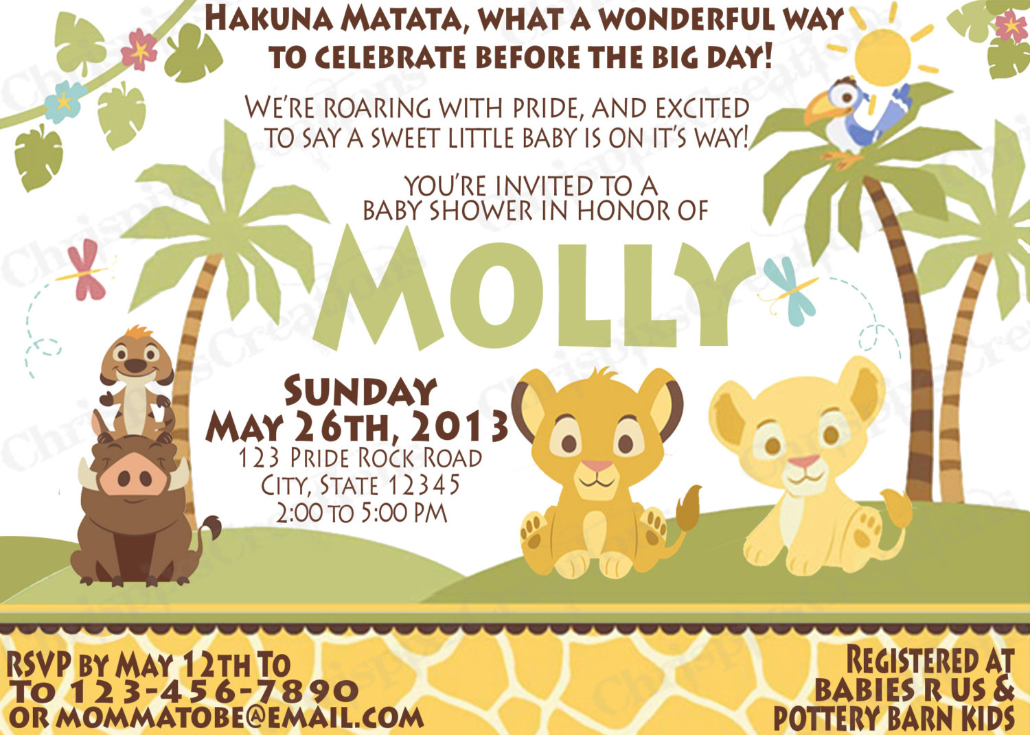 This is a graphic of Printable Lion King Baby Shower Invitations for svg