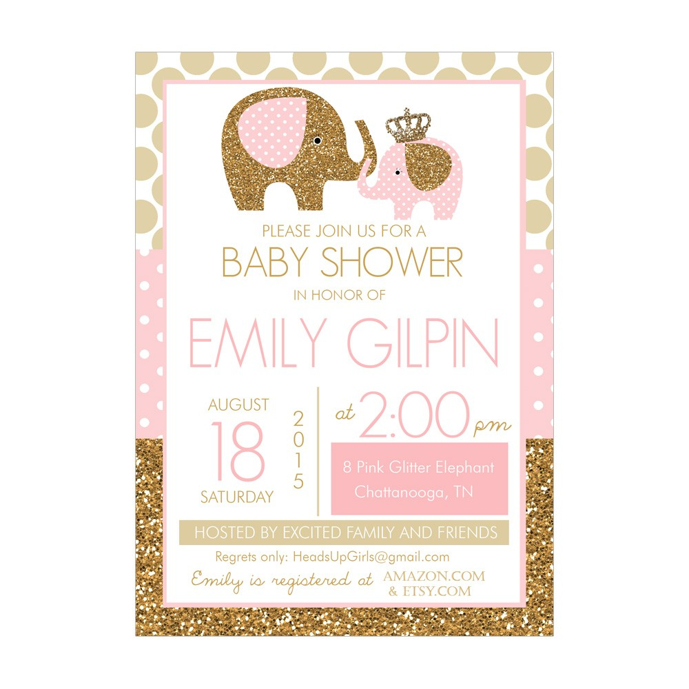Pink And Gold Ba Shower Invitations Templates Designs within proportions 1000 X 1000