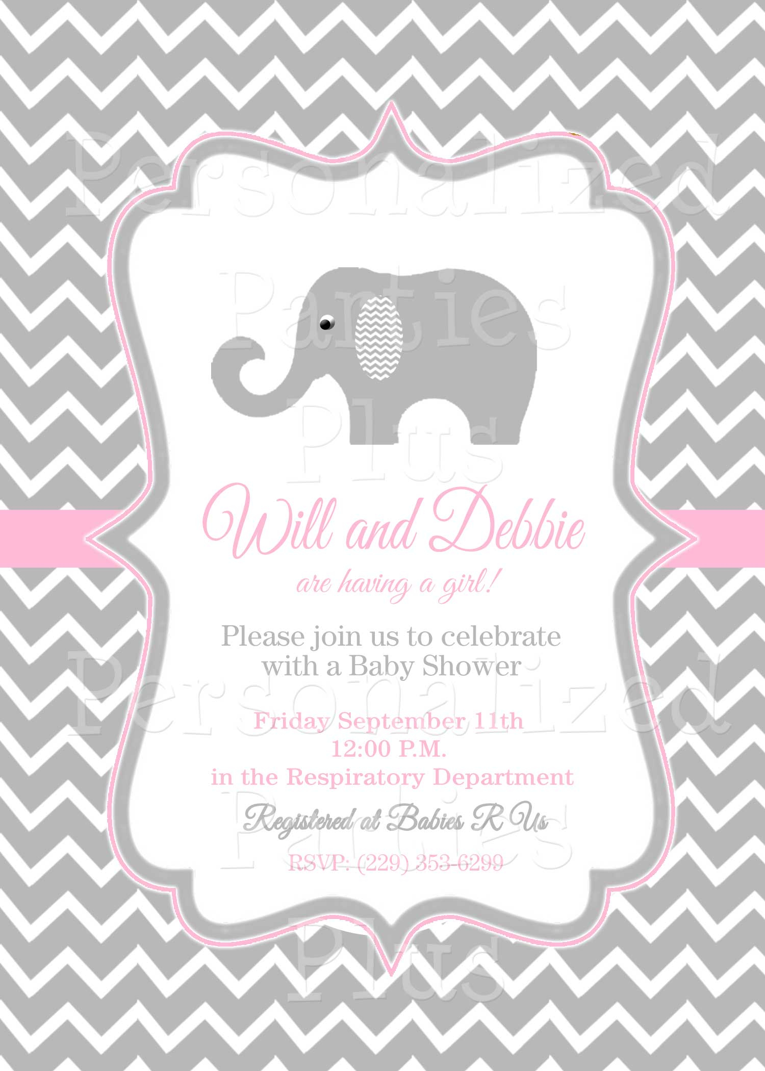 Pink And Grey Baby Shower Invitation Template Baby Showers Design