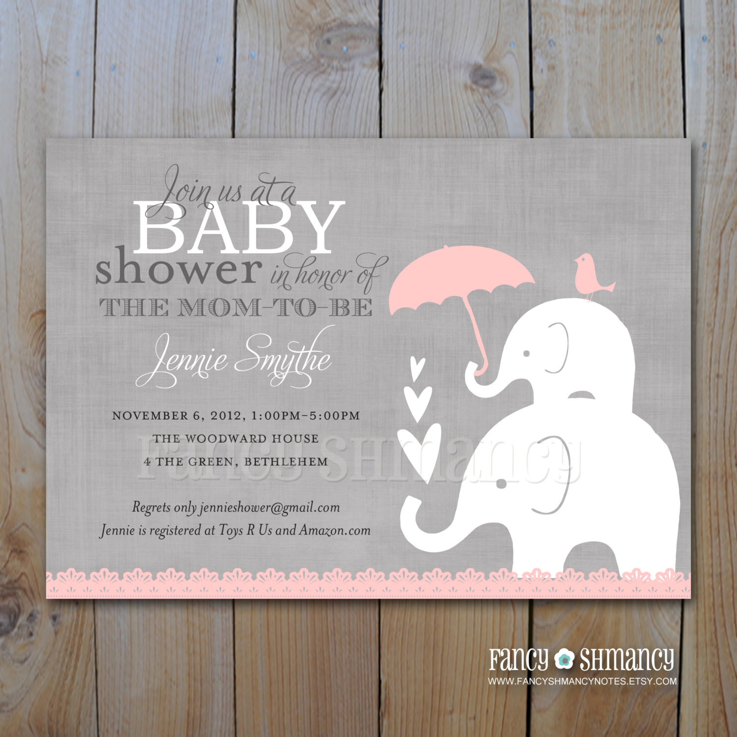 Pink And Grey Girl Elephant Ba Shower Invitation Printable in size 1500 X 1500