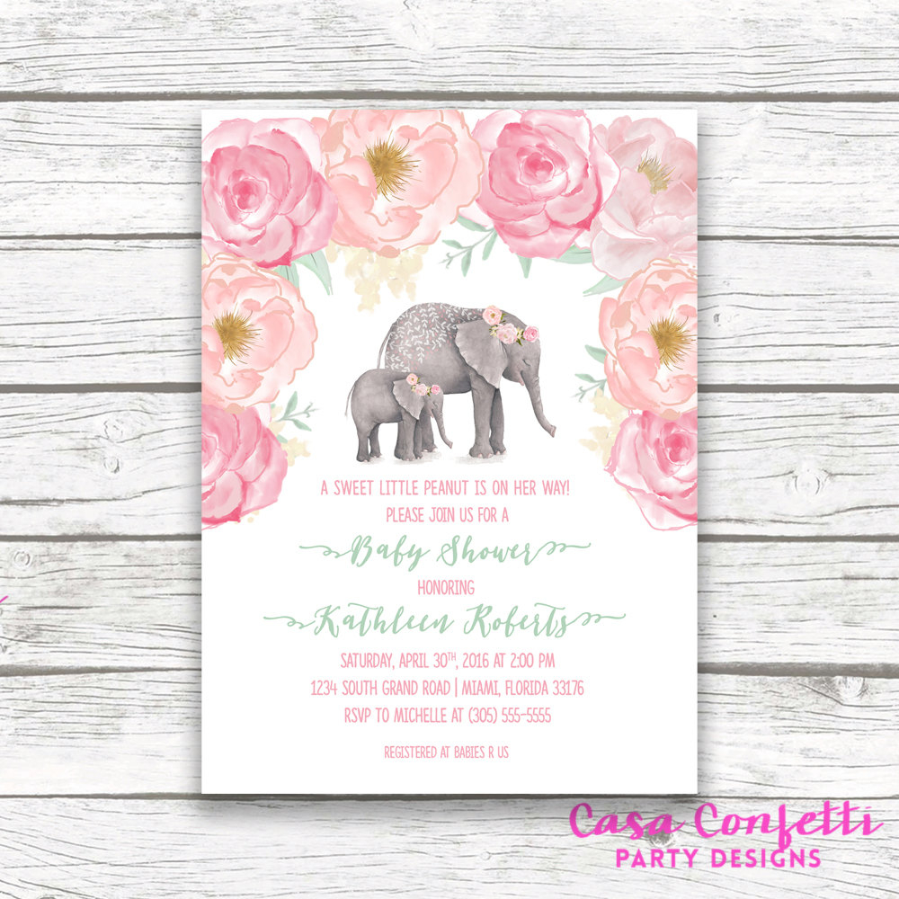 Pink Elephant Ba Shower Invitation Boho Ba Shower Floral intended for measurements 1000 X 1000