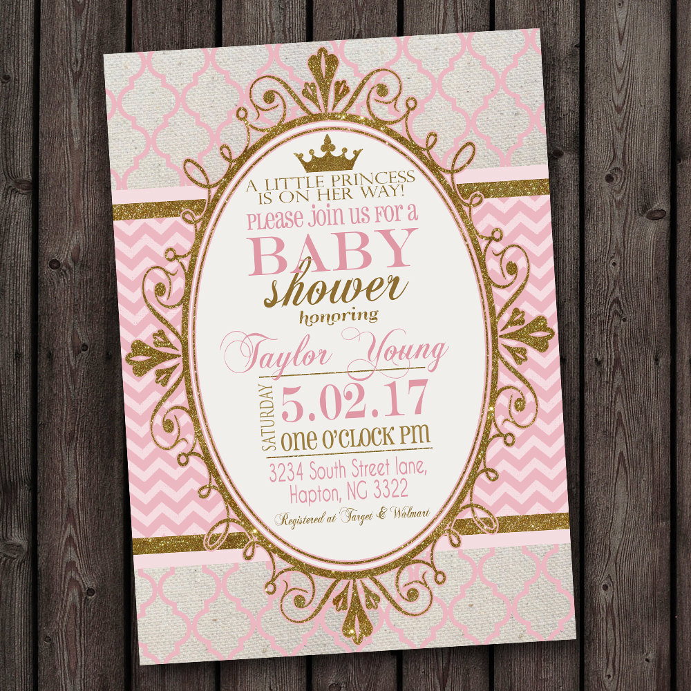 Pink And Gold Baby Shower Invitations Template Baby