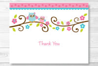 Pink Owl Thank You Card Folded Card Template Owl Ba with proportions 1026 X 831