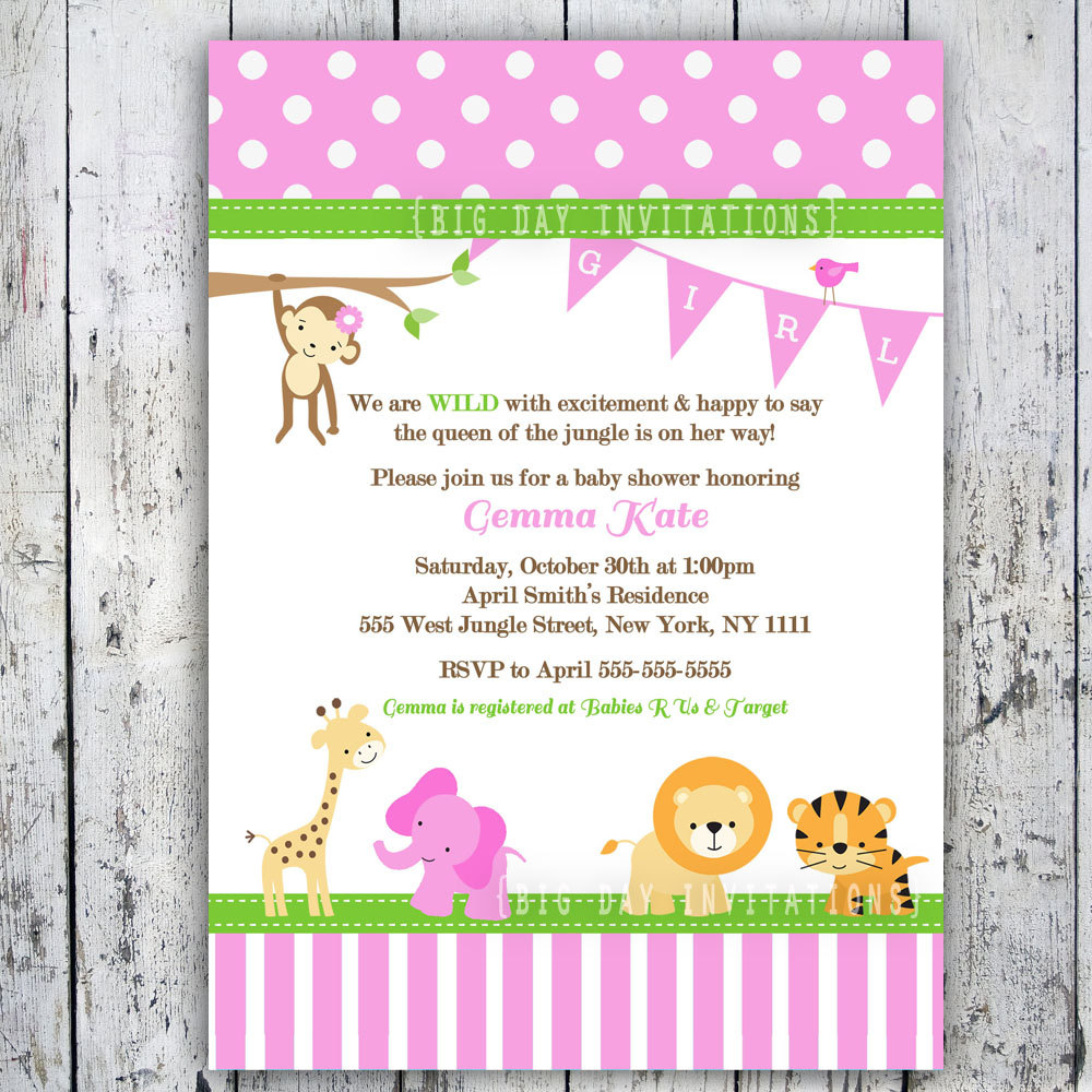 Pink Safari Ba Shower Invitations Pink Safari Ba Shower inside proportions 1000 X 1000