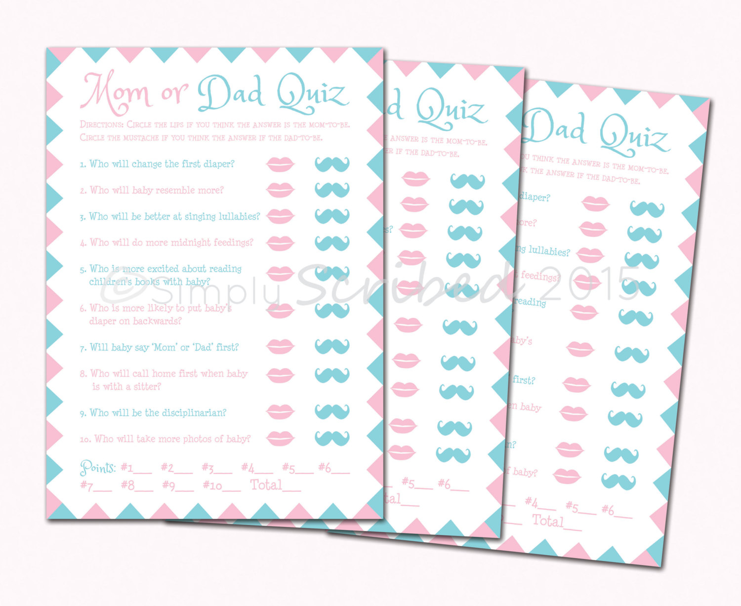 Printable Ba Shower Game Mom Or Dad Trivia Lips And regarding size 1500 X 1227