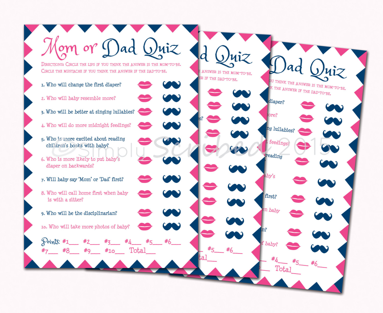Printable Ba Shower Game Mom Or Dad Trivia Navy Blue And with dimensions 1500 X 1227