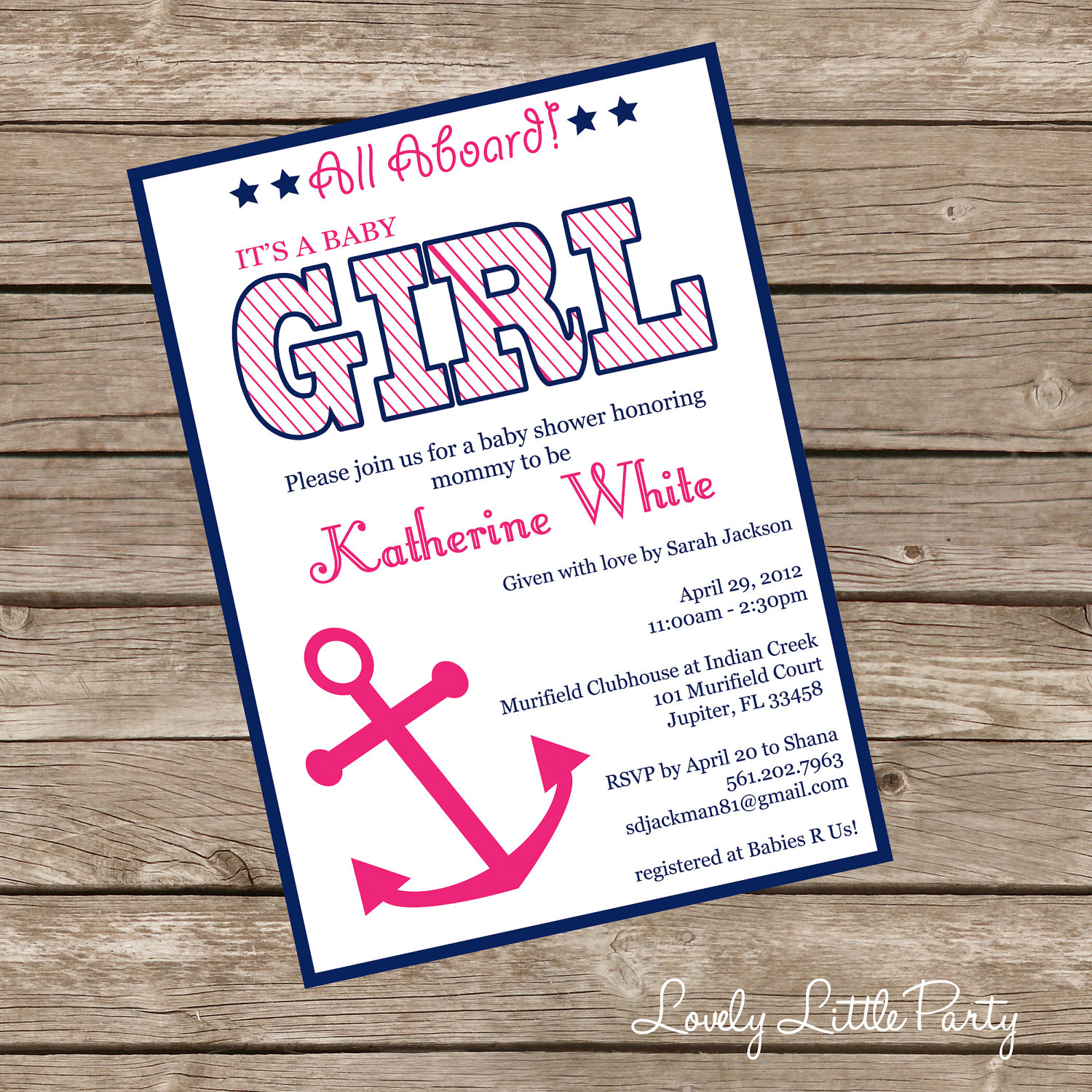 Printable Or Printed Nautical Girl Ba Shower Invitation Lovely intended for dimensions 1500 X 1500