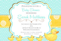 Rubber Ducky Ba Shower Invitation Teal And Yellow Chevron pertaining to dimensions 1500 X 1071