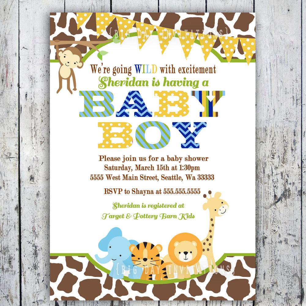 Safari Ba Shower Invitations Theruntime inside measurements 1000 X 1000