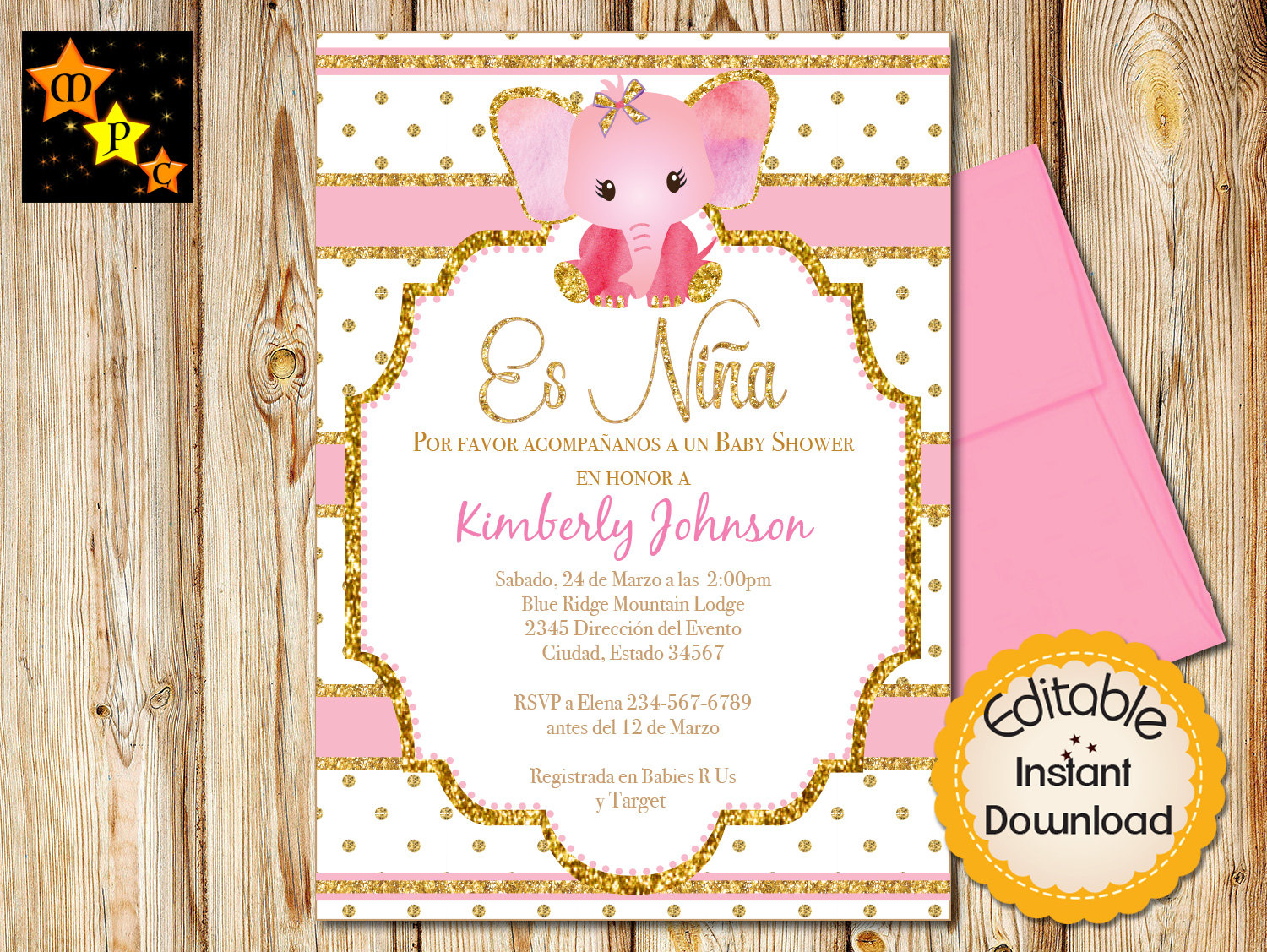 Spanish Ba Shower Invitation Girl Pink And Gold Elephant intended for size 1500 X 1127