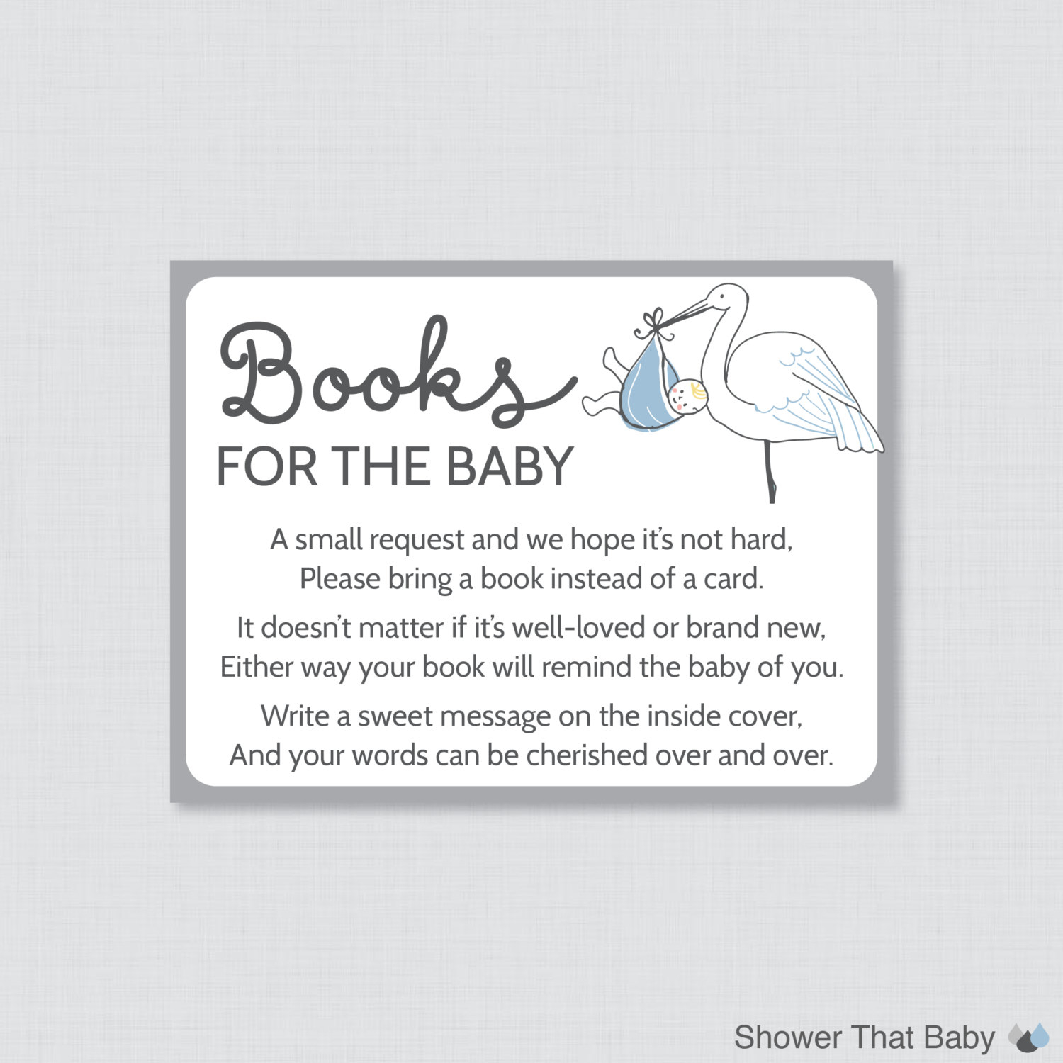 Stork Ba Shower Bring A Book Instead Of A Card Invitation throughout dimensions 1500 X 1500