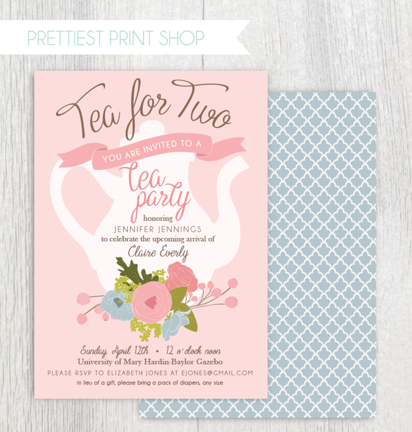 Tea Party Shower Invitations Enomwarbco regarding proportions 1433 X 1500