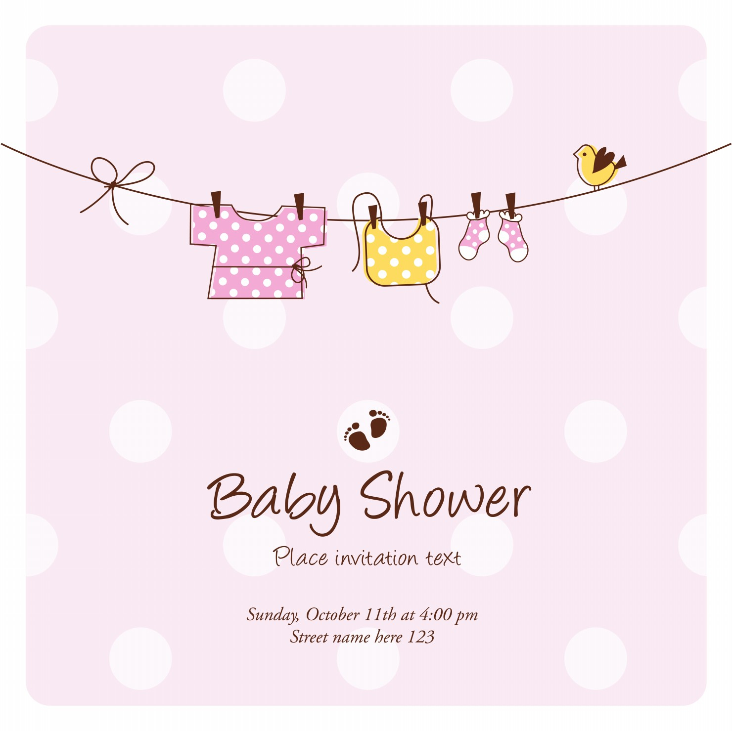 Template Ba Shower Invitation Cards intended for sizing 1480 X 1479