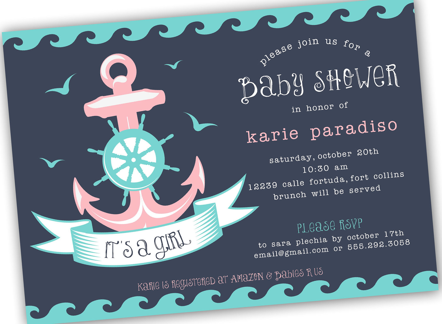 Template Nautical Themed Ba Shower Invitations within sizing 1500 X 1100