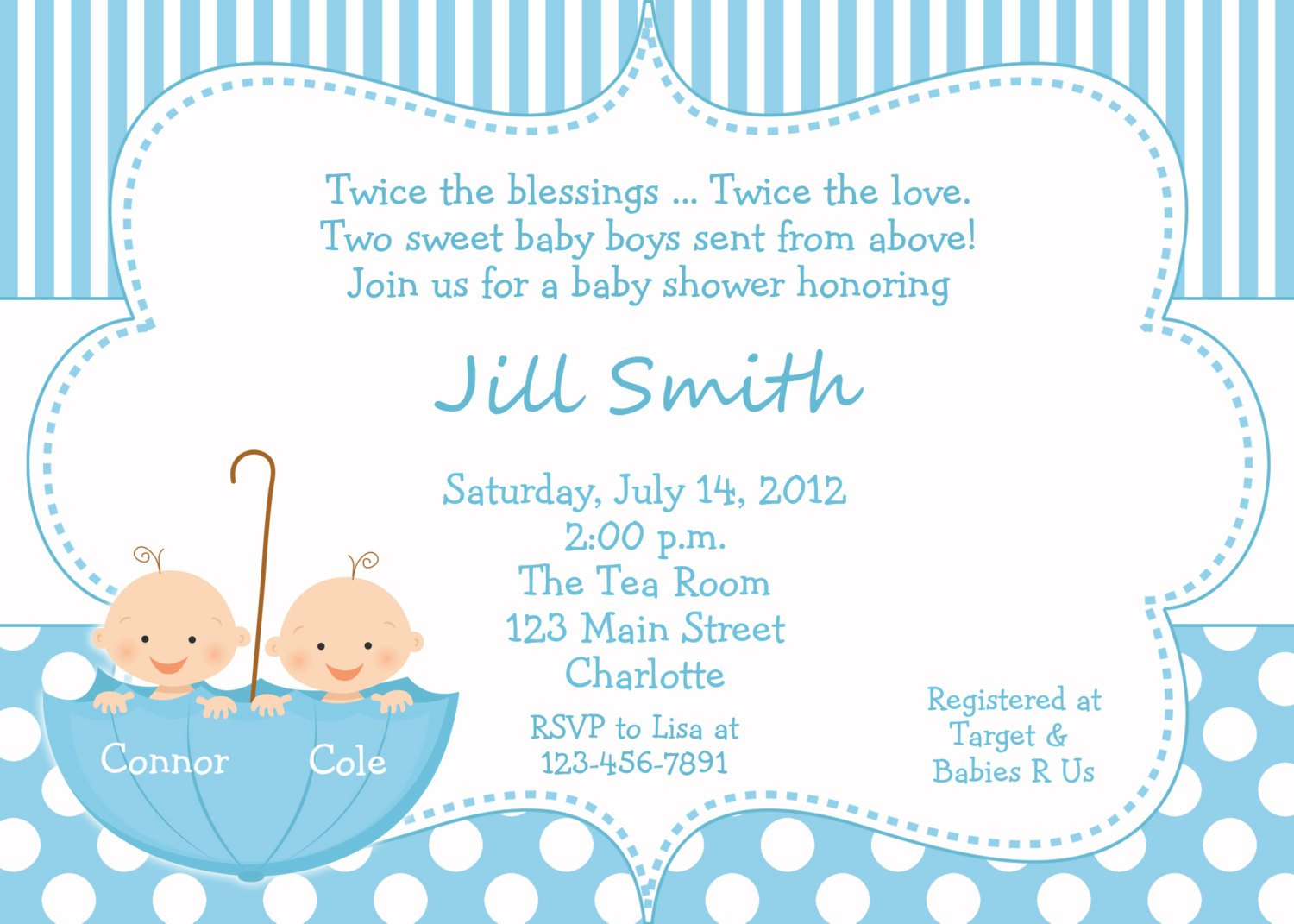 Template Twins Ba Shower Invitation Wording for sizing 1500 X 1071
