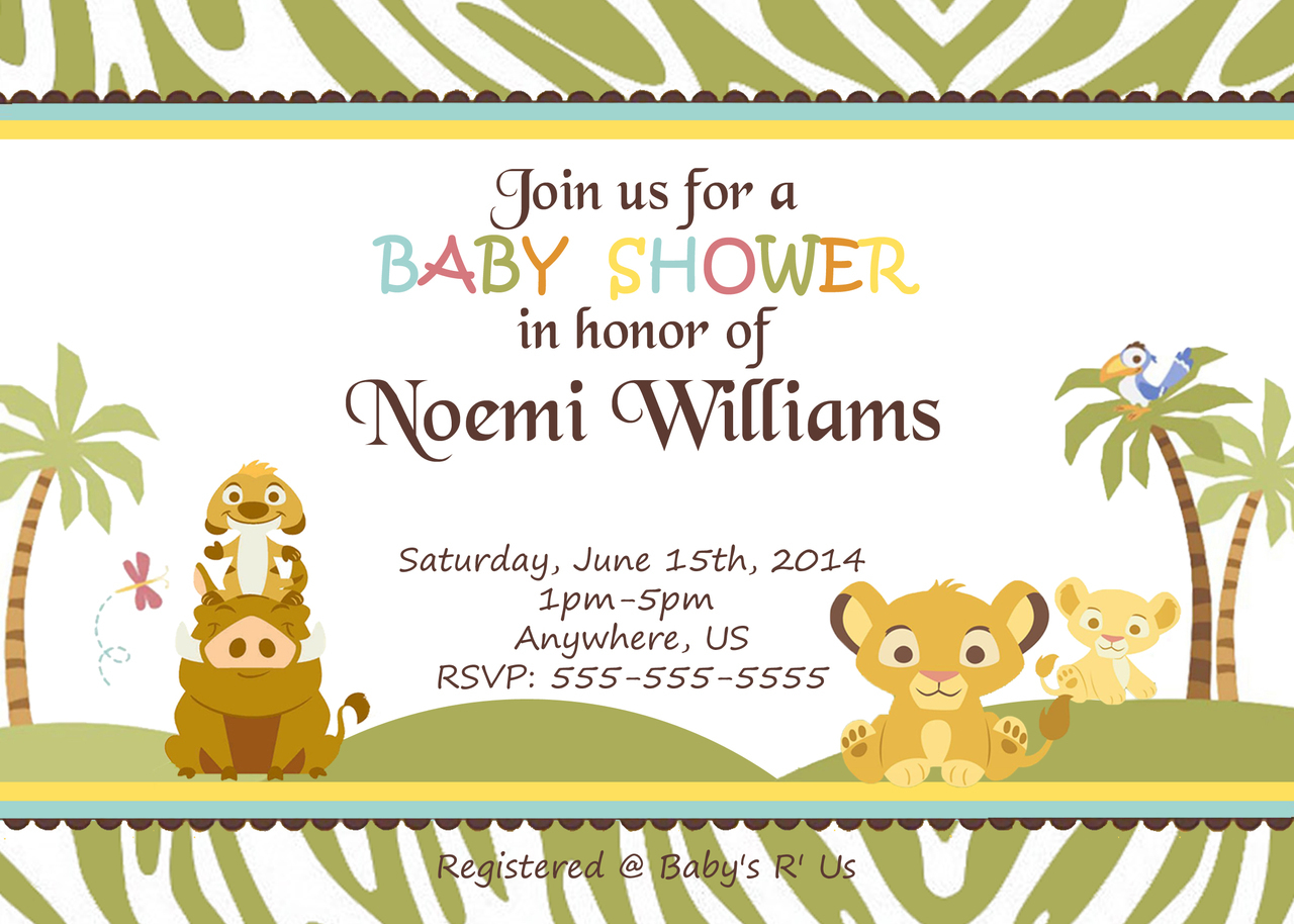 Themes Ba Shower Custom Lion King Ba Shower Invitations In with proportions 1280 X 914