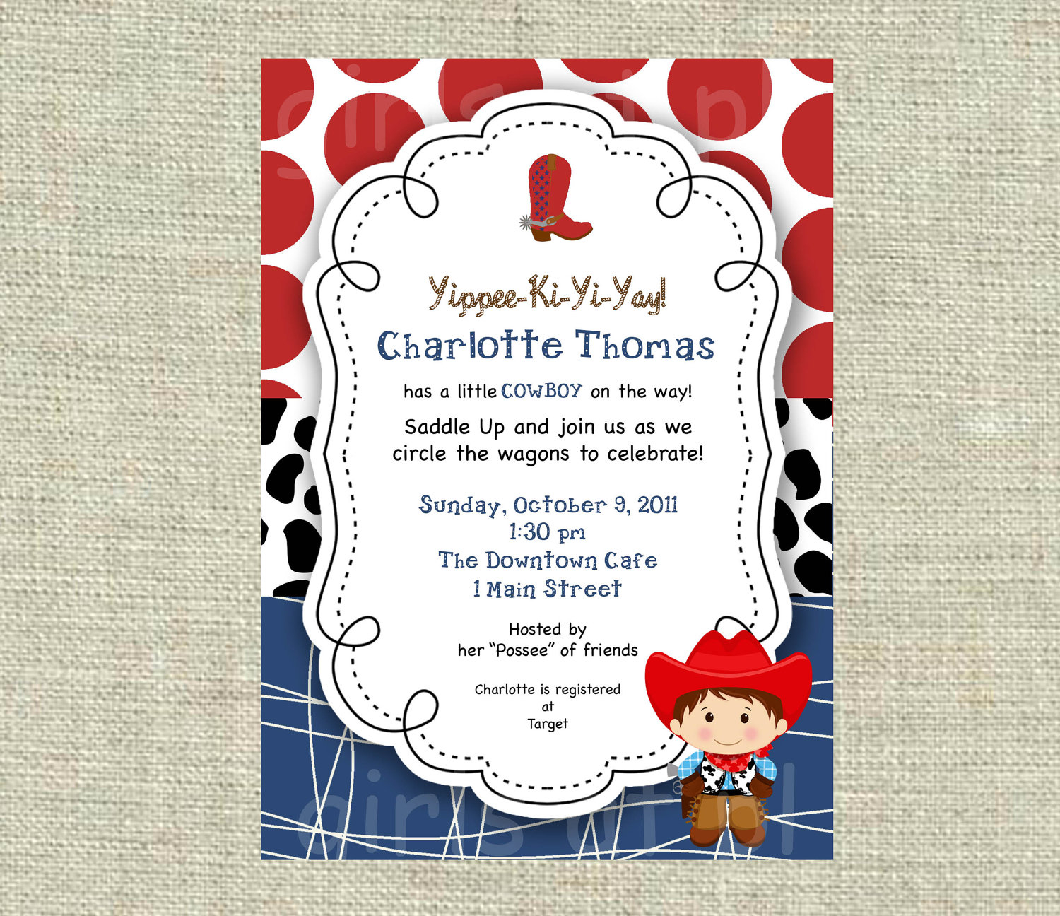 Themes Birthday Ba Boy Shower Invitations Western Theme Plus inside measurements 1500 X 1296