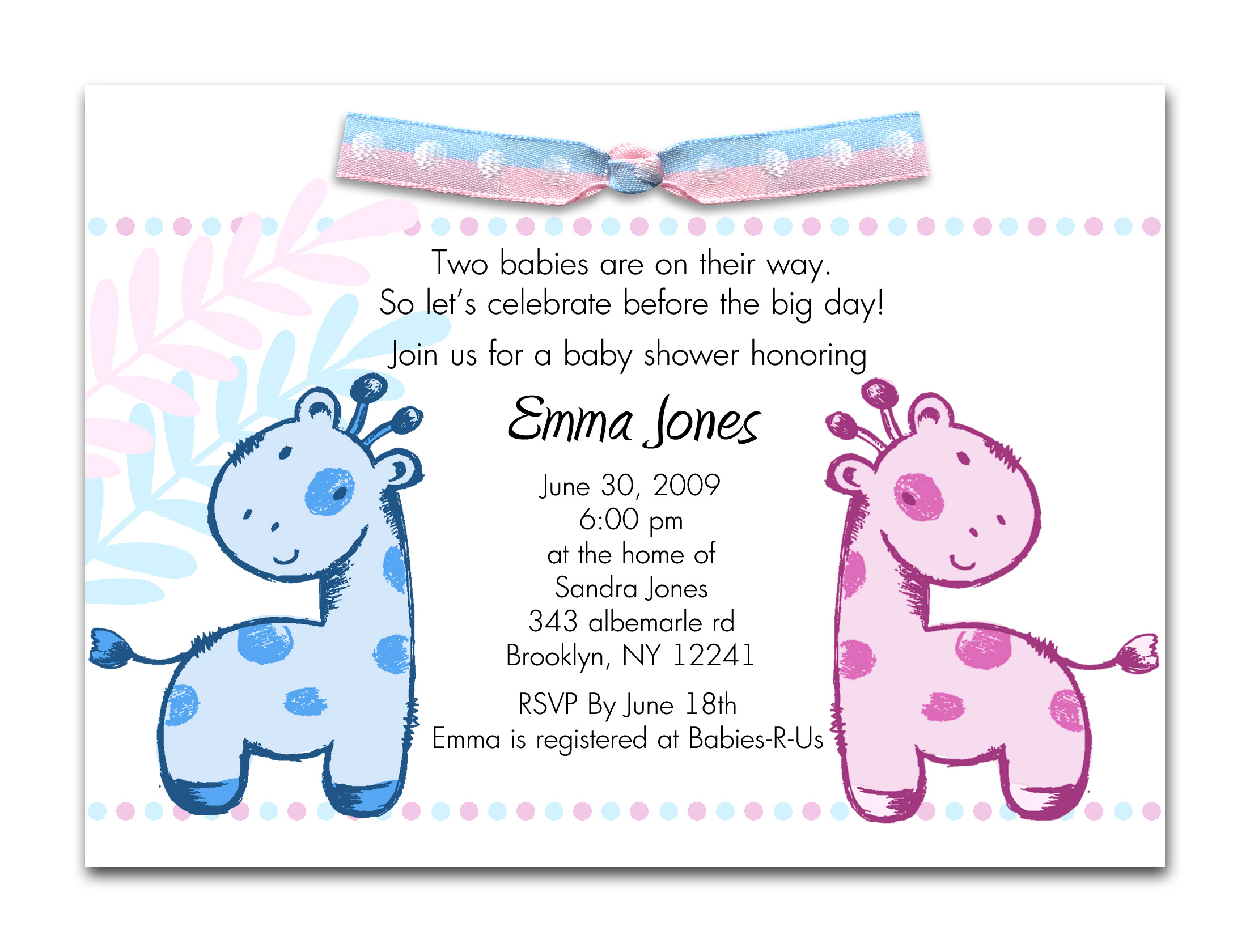 This is a graphic of Free Printable Twin Baby Shower Invitations pertaining to double trouble