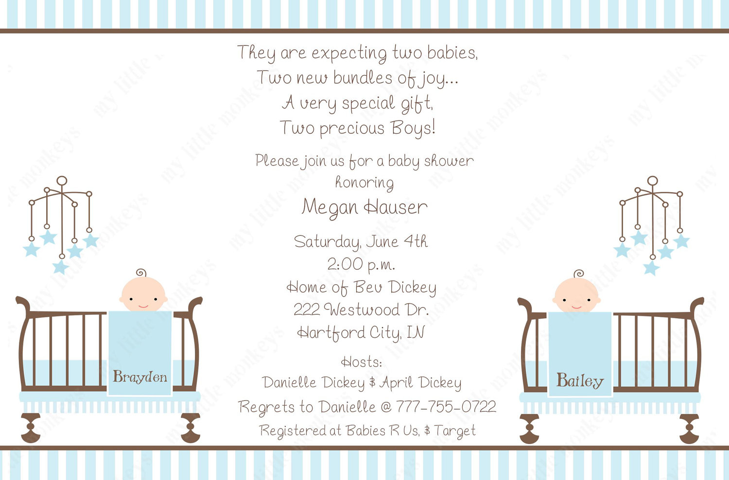 Twins Ba Shower Invitation Wording Theruntime inside dimensions 1500 X 988