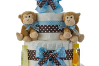Twins Boys 4 Tier Diaper Cake Ba Shower Diaper Cakes Unique pertaining to dimensions 900 X 1200