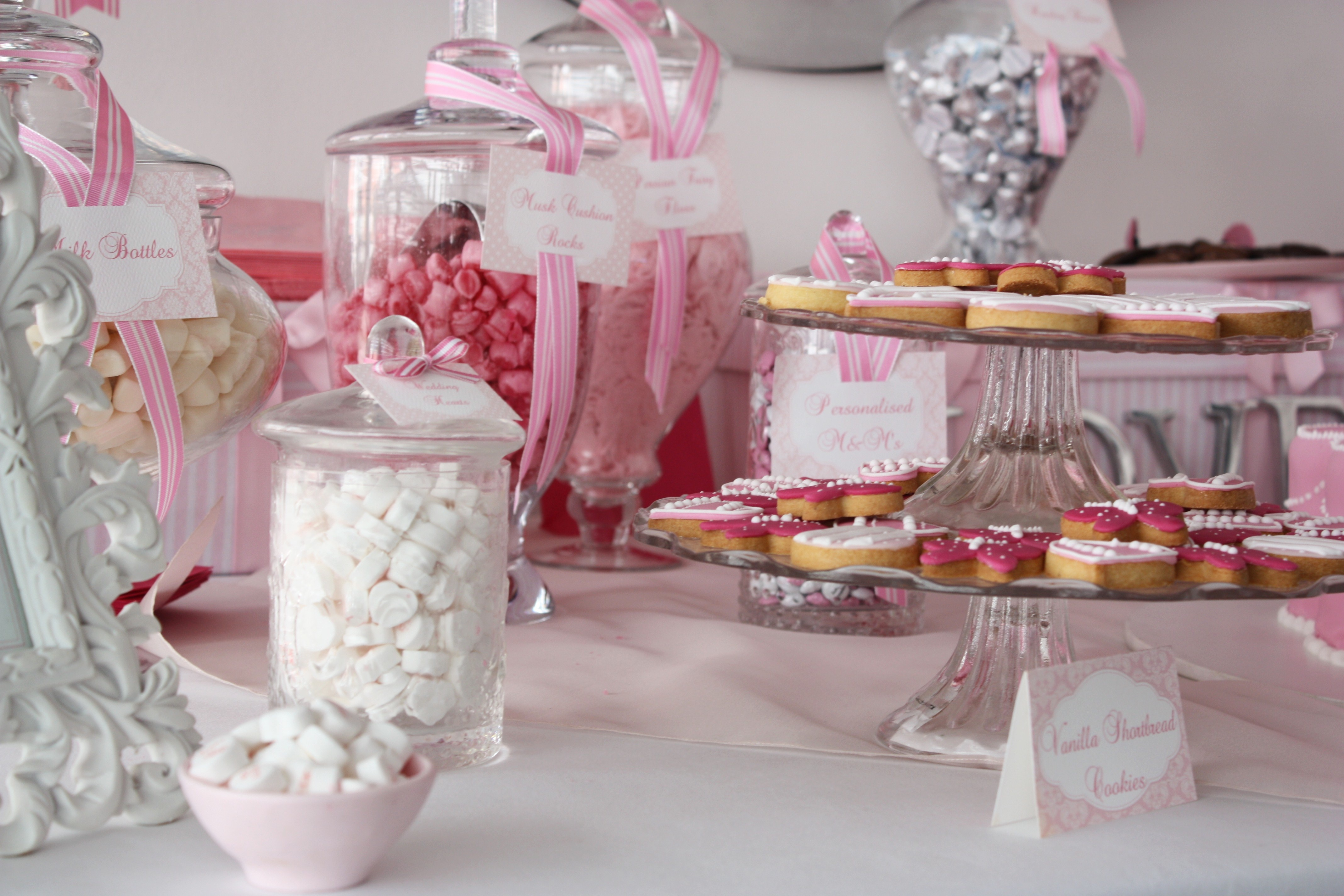 White Pink Candy Buffet Cookie Bar Wedding Ideas The Sweetest throughout proportions 4272 X 2848
