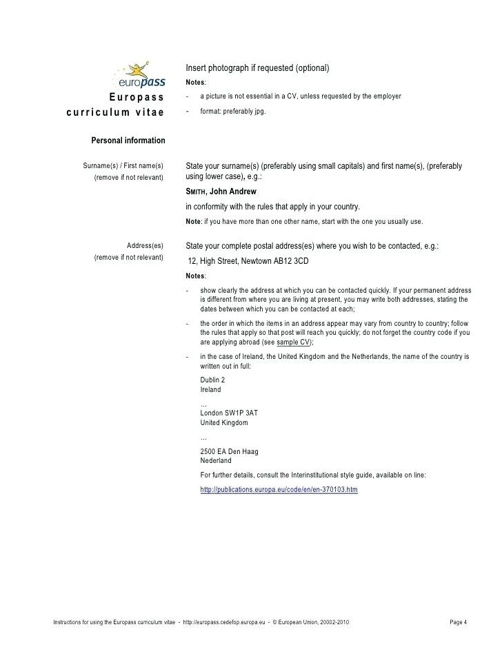Cv English Example European Großartig Top Template Doc Europ Curriculum Vitae Of Neu