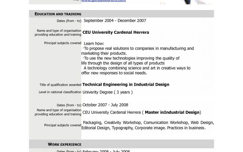 Europass Cv Example Pdf Best Of Europass Cv Template