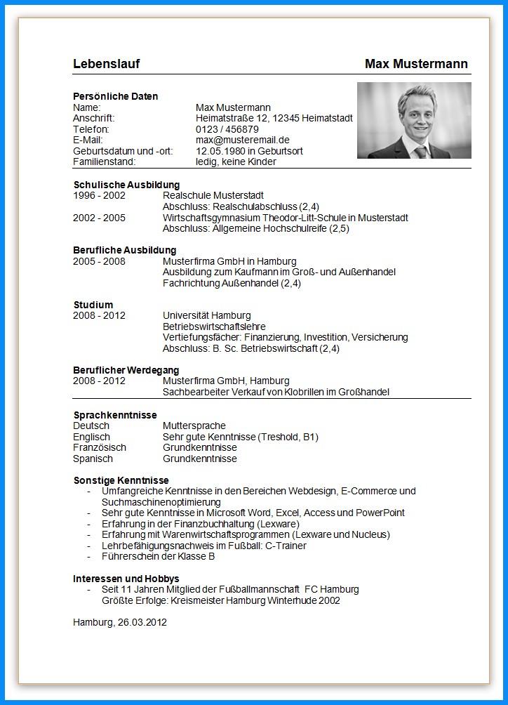 45 Einzigartig Lebenslauf Ausbildung Vorlage Word Dokument