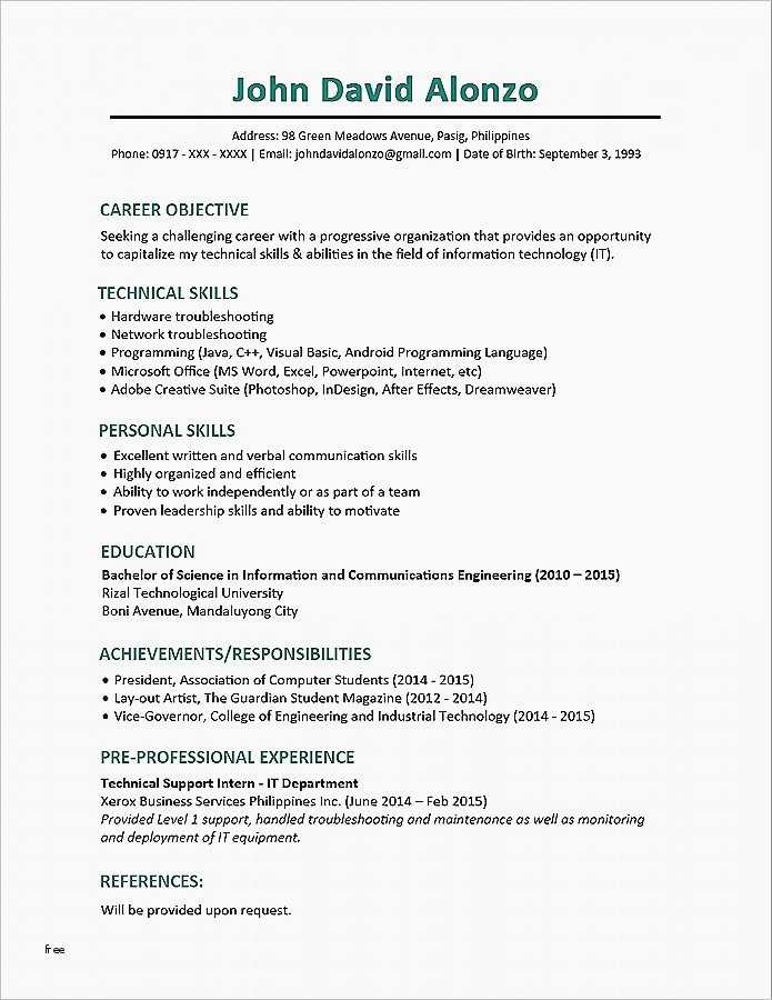 Sample Cv Template Philippines Inspirierend Functional
