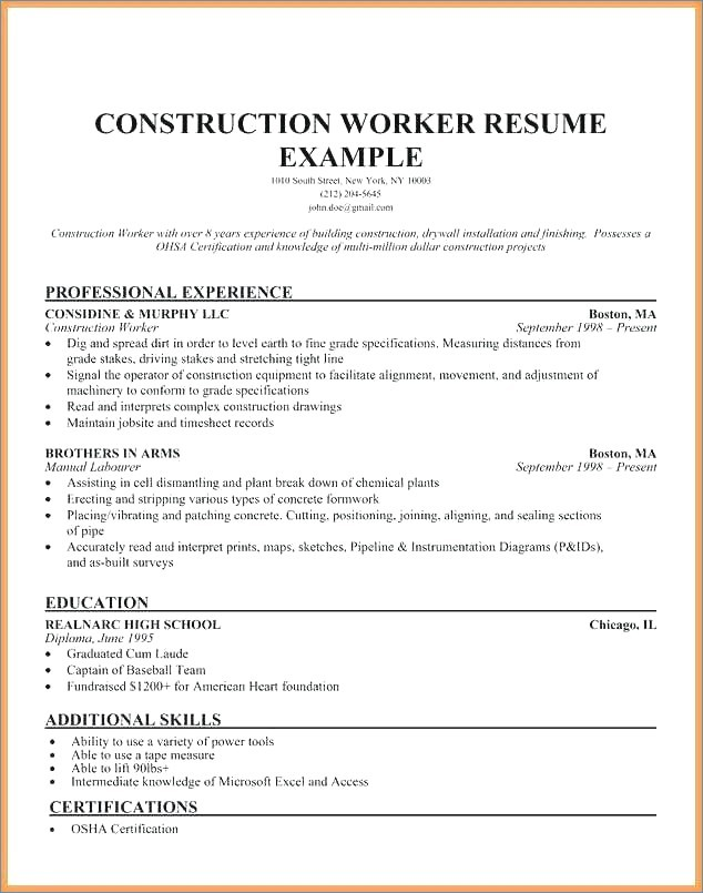 Civil Foreman Cv Sample Pdf Neu Supervisor Resume Template Bakery