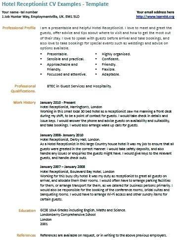 Corporate Receptionist Cv Sample Uk Grossartig Hotel Resume Format Hospitality Front Desk Clerk