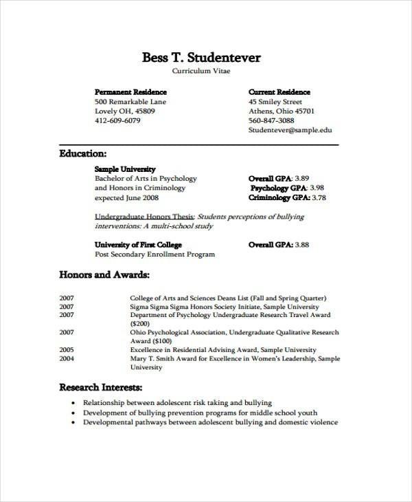 40 Curriculum Vitae Cv Format Sri Lanka