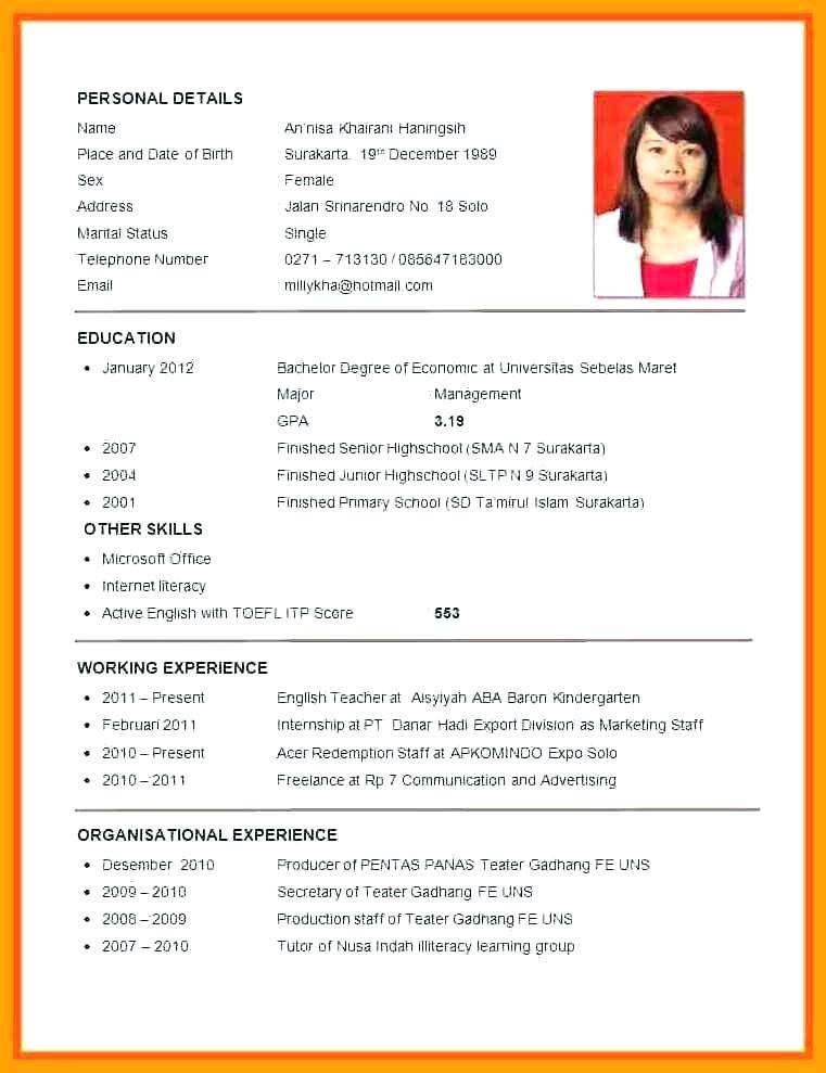 Curriculum Vitae Format For Job Application Sri Lanka Großartig