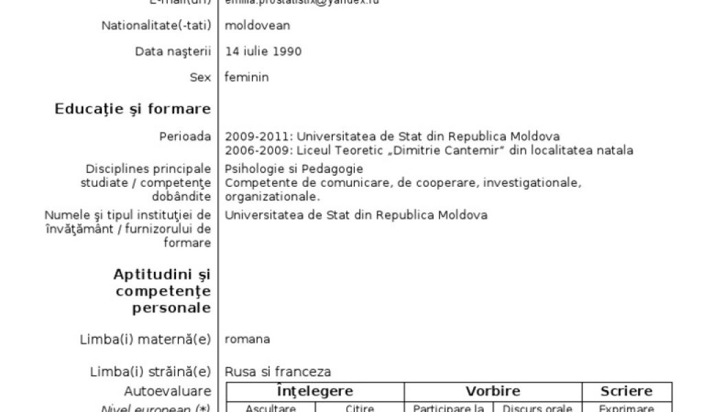 39 curriculum vitae model european in limba romana completat