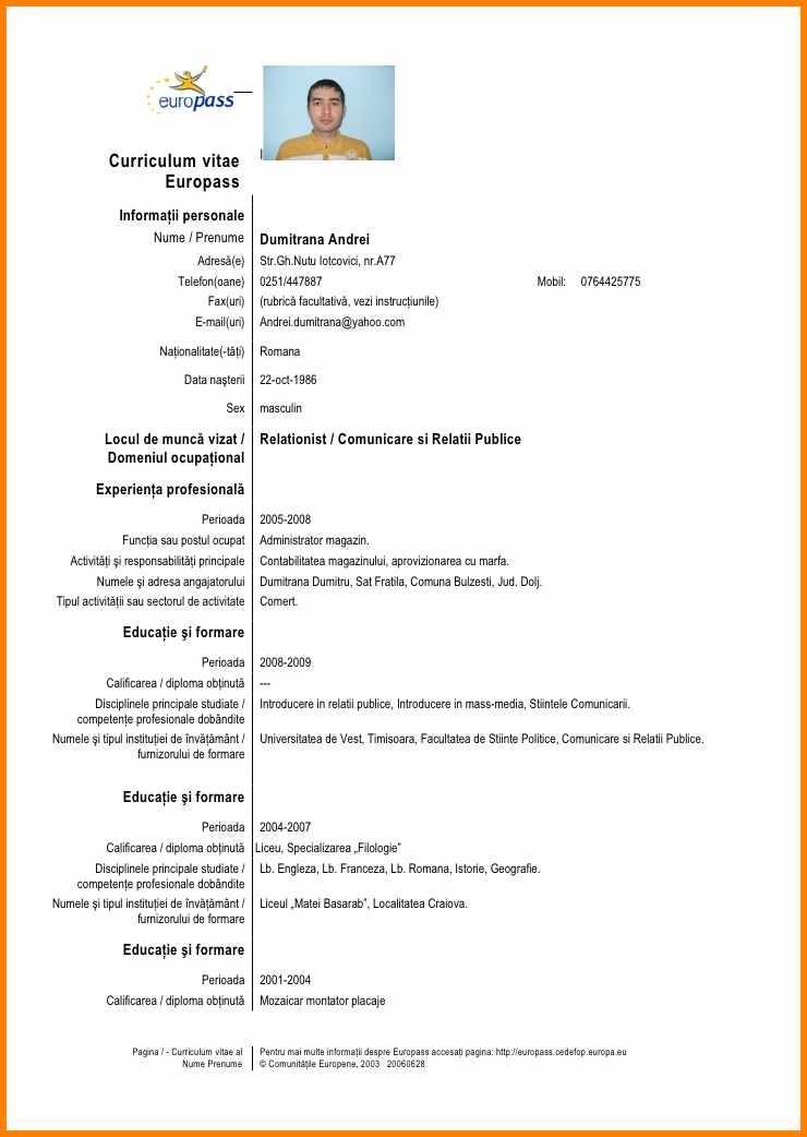 curriculum vitae model romana completat