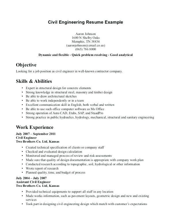 Curriculum Vitae Sample For Fresh Graduate Civil Engineer